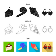 Refreshments and other accessories at the party.Party and partits set collection icons in black,flat,outline style vector symbol stock illustration web.