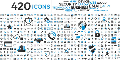 Black and blue web business technology icons set Wall mural