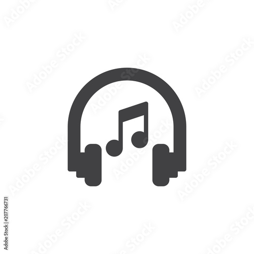 Headphones and music note vector icon  filled flat sign for mobile