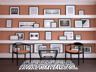 Interior design of the room. Wall with frames on the shelves. 3d illustration