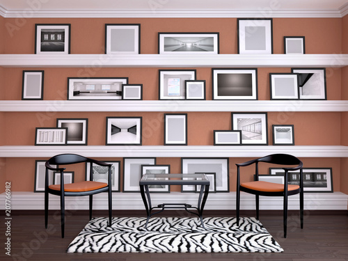 Interior design of the room  Wall with frames on the shelves  3d
