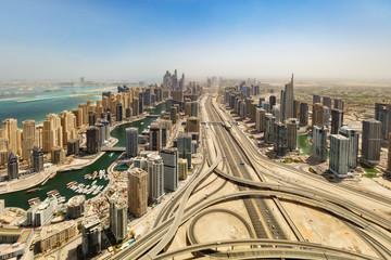 Fototapete - Aerial view of Dubai Marina downtown