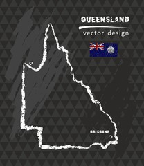 Map of Queensland, Chalk sketch vector illustration