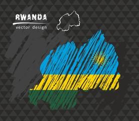Rwanda national vector map with sketch chalk flag. Sketch chalk hand drawn illustration