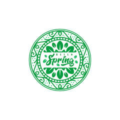 Hello spring summer logo vector illustration, leaves and geometric shapes. Circle nature icon