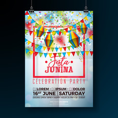 Festa Junina Party Flyer Illustration with Flags and Paper Lantern on Falling Confetti Background. Vector Brazil June Festival Design for Invitation or Holiday Celebration Poster.