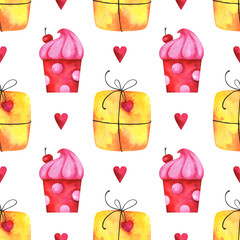 Hand painted minimalist seamless pattern with watercolor gift boxes, cake and hearts isolated on white background