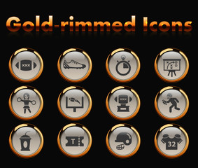 american football gold-rimmed vector icons with black background