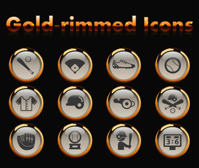 baseball gold-rimmed vector icons with black background