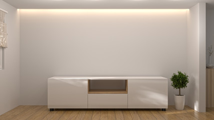 modern Tv white wood cabinet, in empty room interior background  3d illustration home designs,background shelves and books on the desk in front of  wall empty wall