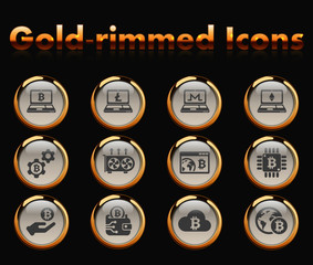 cryptocurrency gold-rimmed vector icons with black background