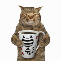 The cat  holds a cup with black coffee. White background.