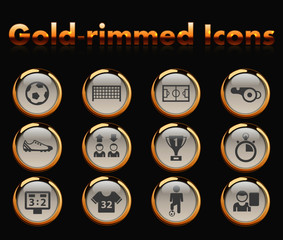 football gold-rimmed vector icons with black background