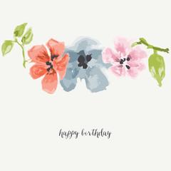 Fototapete - Watercolor flowers greeting card