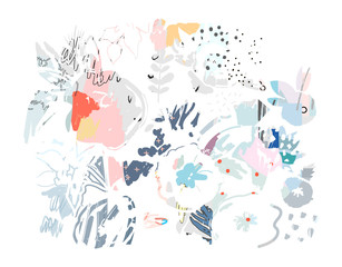 Creative universal artistic floral background. Hand Drawn textures. Trendy Graphic Design for banner, poster, card, cover, invitation, placard, brochure or header. Vector