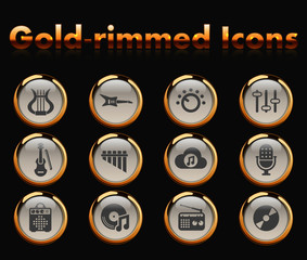 music gold-rimmed vector icons with black background