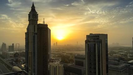 Fototapete - Time lapse of sunrise over Dubai downtown