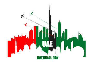 UAE National Day poster with landmarks, skyscrapers silhouettes and planes performing aerobatics.