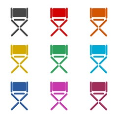 Director chair icon, color icons set