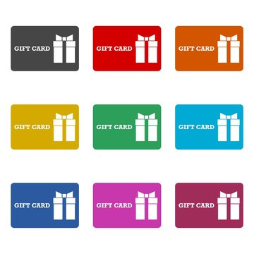 Gift card icon, Discount coupon, color icons set
