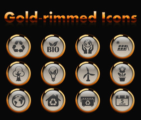 world environment day gold-rimmed vector icons with black background