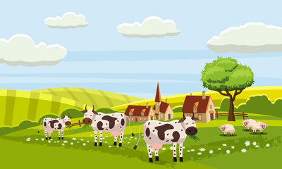 Rural cute farm view, cow, sheep, vector, illustration, isolated, cartoon style