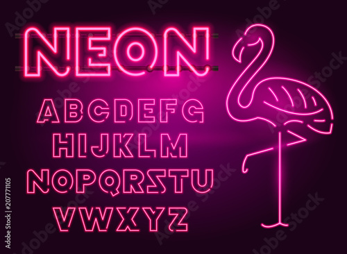 80 s purple neon retro font and flamingo futuristic chrome letters