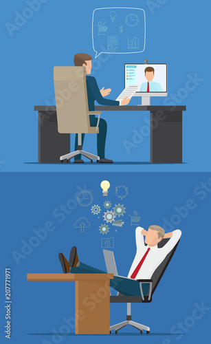 two businessmen sitting in chairs with computers fotolia com の