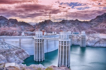 Hoover Dam and Colorado river.