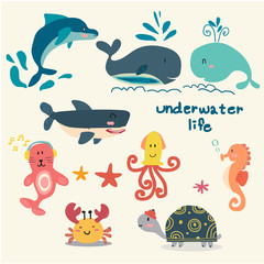 set of animal under sea life, starfish, turtle, octopus, seahorse, crab, dolphin, whale, seal, shark, flat cartoon vector
