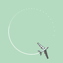 plane with white trail vector illustration