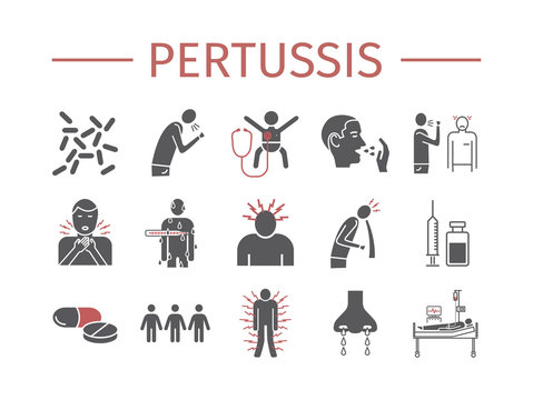 Pertussis signs. Whooping cough, Symptoms, Treatment. Flat icons set. Vector infographics.