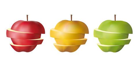 pomme - fruit - tranche, rouge, jaune, verte, couper, couleur, santé, vitamine, diète, régime
