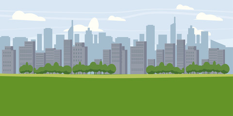 Cityscape, metropolis, panorama, horizon, skyscrapers, houses vector, illustration, isolated, cartoon style