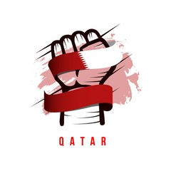 Hand and Flag Qatar Vector Template Design Illustration