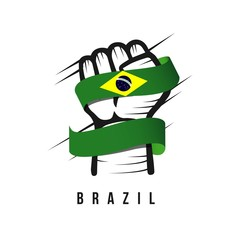 Hand and Flag Brazil Vector Template Design Illustration