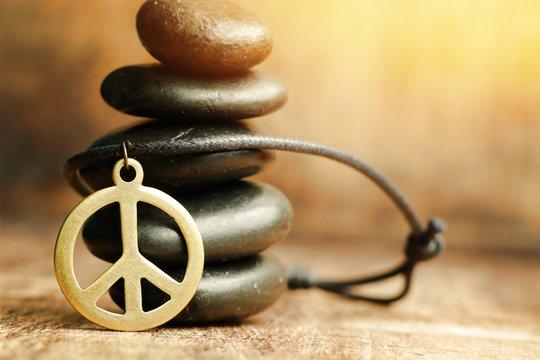 Peace symbol leather necklace