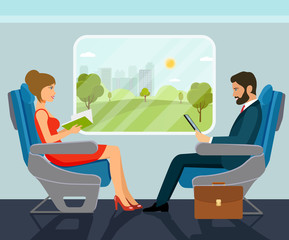 Passenger young beautiful girl and businessman character sitting in chair on the train . Vector flat style illustration