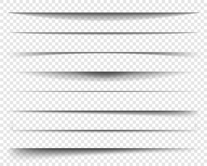 Page dividers with transparent shadows, isolated. Pages separation vector set. Transparent realistic paper shadow effects. Web banner. Element for frame shadow. Vector design for website, text, border