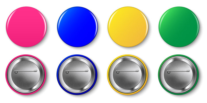 Pin button vector set. Pink, magenta, yellow, green, blue circle pin buttons isolated on white background. Round glossy metal tag, badge, mockup, brooch collection.