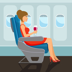 Passenger young beautiful girl character sitting in chair on the plane . Vector flat style illustration