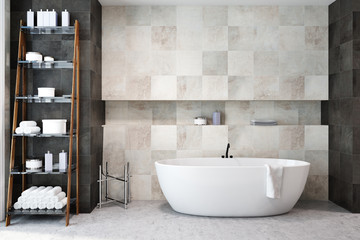 White tiles bathroom interior