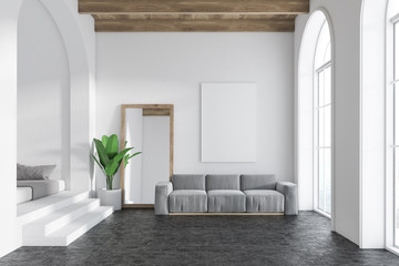 Gray sofa living room interior, mirror and poster