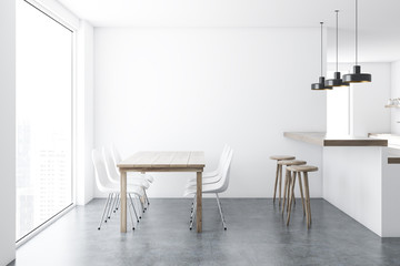 Concrete floor dining room interior