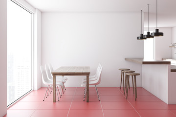 Red tiled floor dining room interior