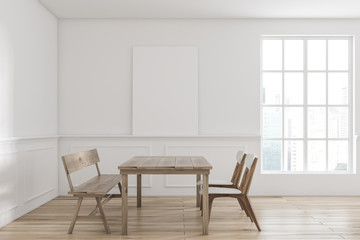 Wooden table dining room interior