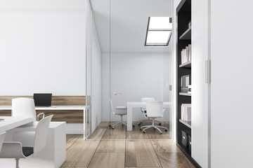 White office workplace, side view