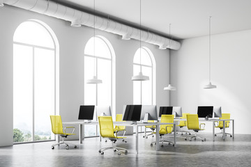 Minimalistic yellow chair office corner