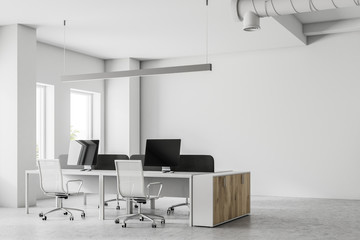 Corner of an open space office, mock up wall