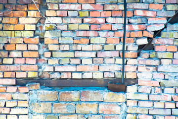 Old brick cracked wall. For backround and texture